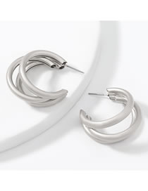 Fashion Silver Color Alloy Multilayer C-shaped Geometric Earrings