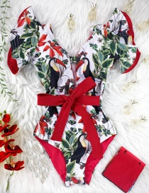 Fashion Green Leaf Bird On White + Red Ruffled Strap Print Triangle One-piece Swimsuit