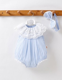 Fashion Light Blue Striped Lace Short-sleeved Baby Jumpsuit