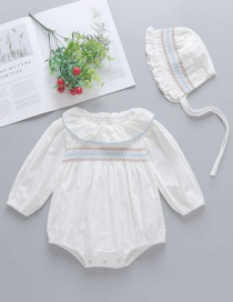 Fashion White Long-sleeved Triangle Romper With Lotus Leaf Collar For Babies