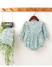 Fashion Long Sleeve Floral Print Flying Sleeve Baby Romper