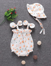Fashion Hang On Behalf Of Cotton Printed Love Stitching Short-sleeved Romper