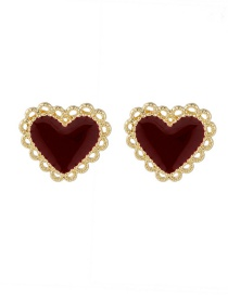 Fashion Red Love Drop Oil Edging Alloy Earrings