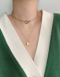Fashion Gold Color Lock Shaped Ot Buckle Alloy Double Necklace