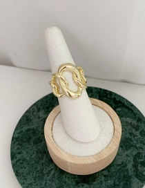 Fashion Gold Color Thick Chain Stitching Contrast Ring