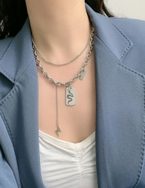 Fashion Silver Color Lightning Snake-shaped Geometric Alloy Double-layer Necklace