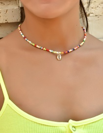 Fashion Color Mixing Shell Rice Beads Beaded Alloy Necklace
