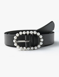 Fashion Black Pearl Geometric Oval Alloy Belt