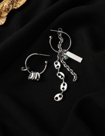 Fashion Silver Color Asymmetric Chain Pig Nose Stitching Alloy Earrings