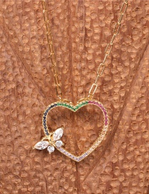 Fashion Color Mixing Diamond Hollow Heart Pendant Thick Chain Necklace