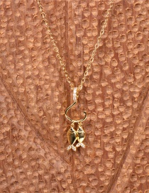 Fashion Gold Color The Wisher Hooks Double Fish Pendant Necklace