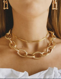 Fashion Gold Color Thick Chain Alloy Hollow Multilayer Necklace