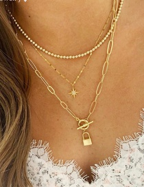 Fashion Gold Color Alloy Eight-pointed Star Lock Pendant Multilayer Necklace
