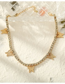 Fashion Gold Color Rhinestone Butterfly Pendant Alloy Necklace