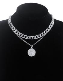 Fashion Silver Color Alloy Head Pendant Thick Chain Multilayer Necklace