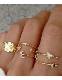 Fashion Gold Color Diamond Star Moon Alloy Butterfly Ring Set