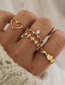 Fashion Gold Color Diamond Heart Alloy Hollow Ring Set