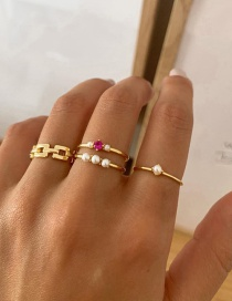 Fashion Gold Color Diamond And Pearl Geometric Alloy Ring Set
