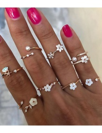 Fashion Gold Color Diamond Shell Flower Pearl Alloy Ring Set