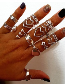 Fashion Silver Color Love Leaf Alloy Hollow Ring Set