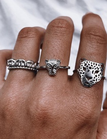 Fashion Silver Color Leopard Head Alloy Hollow Ring Set