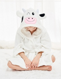 Fashion Cow Nightgown Childrens Flannel Nightgown With Hooded Animal Belt