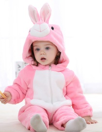 Fashion Pink Rabbit Animal Color Zipper Flannel Childrens Long Sleeve Romper