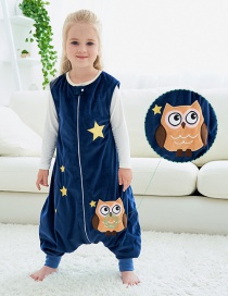 Fashion Dark Blue Star Owl Animal Hit Color Sleeveless Flannel One-piece Childrens Sleeping Bag
