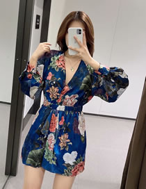 Fashion Color Mixing Flower Print V-neck Jumpsuit