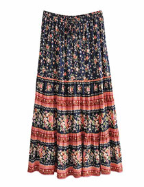Fashion Color Mixing Printed Wide Loose Skirt