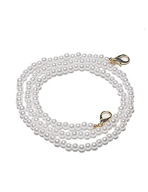 Fashion White Real Gold Plated Large Lobster Clasp Pearl Handmade Glasses Chain