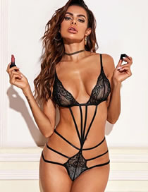 Fashion Black Bundled Lace Hollow Perspective Three-point Suit