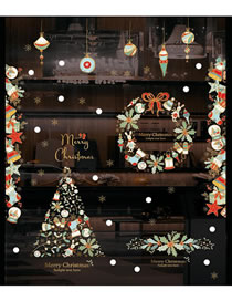 Fashion Wreath Christmas And New Year Window Glass Door And Window Wall Stickers