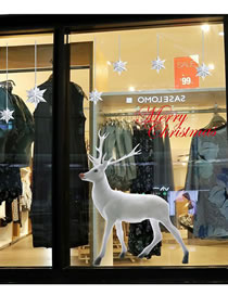 Fashion Bailu Christmas Elk Snowflake Static Glass Door Window Sticker