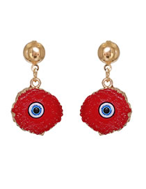 Fashion Red Acrylic Eyes Round Alloy Earrings