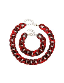 Fashion Red Two-piece Acetate Plate Twist Necklace And Bracelet