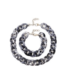 Fashion Gray Two-piece Acetate Plate Twist Necklace And Bracelet