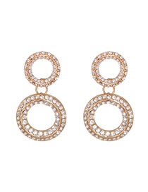 Fashion White Round Cutout Geometric Earrings With Diamonds