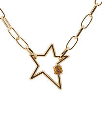 Fashion Yellow Five-pointed Star Diamond Lock Stainless Steel Necklace