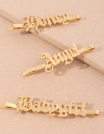 Fashion Suit Letter Alloy Hollow One-word Hairpin