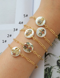 Fashion 1#gold Color Copper Inlaid Zircon Shell Doll Bracelet