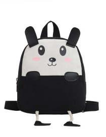 Fashion 19 Inch One Black Canvas Bunny Elephant Stitching Contrast Backpack