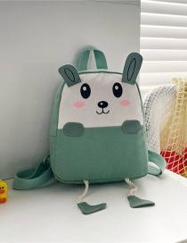 Fashion 16 Inch One Green Canvas Bunny Elephant Stitching Contrast Backpack