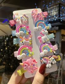 Fashion Unicorn Rainbow Unicorn Resin Children Hairpin