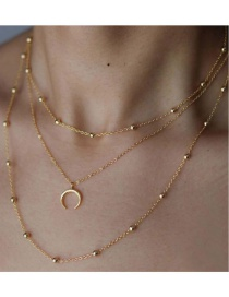 Fashion Gold Color Alloy Moon Pendant Multilayer Necklace