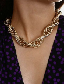 Fashion Gold Color Thick Chain Alloy Hollow Necklace