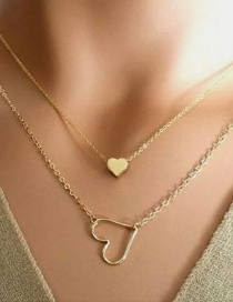 Fashion Gold Color Alloy Plating Heart Pendant Double Necklace