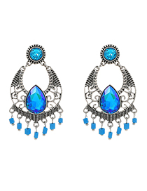 Blue Alloy Diamond Stud Earrings