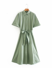 Fashion Green Single-breasted Shirt Dress With Belt