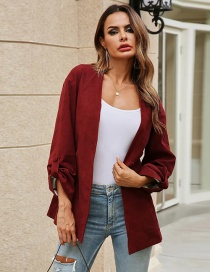 Fashion Red Wine Solid Color Suit Jacket With Belt And Bow